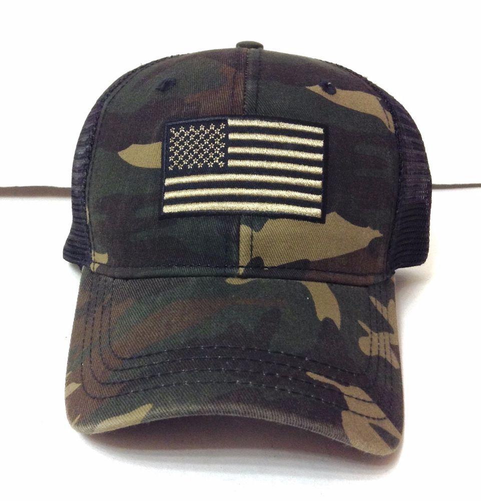 d27a16c45efdaa New AMERICAN FLAG CURVED-BILL TRUCKER HAT Green&Brown Camouflage/Camo Men/ Women #Unbranded #Trucker