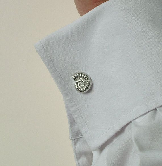 Ammonite fossil cuff links pewter and silver by GloverandSmith, $50.00
