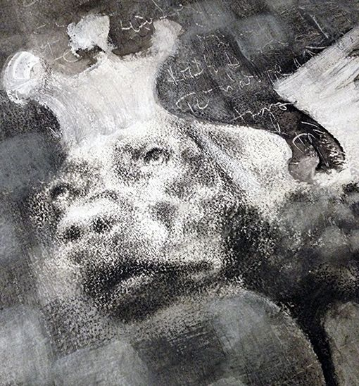 King of angels, Combined technique on paper, 30x40, 2015, Painting, Animal