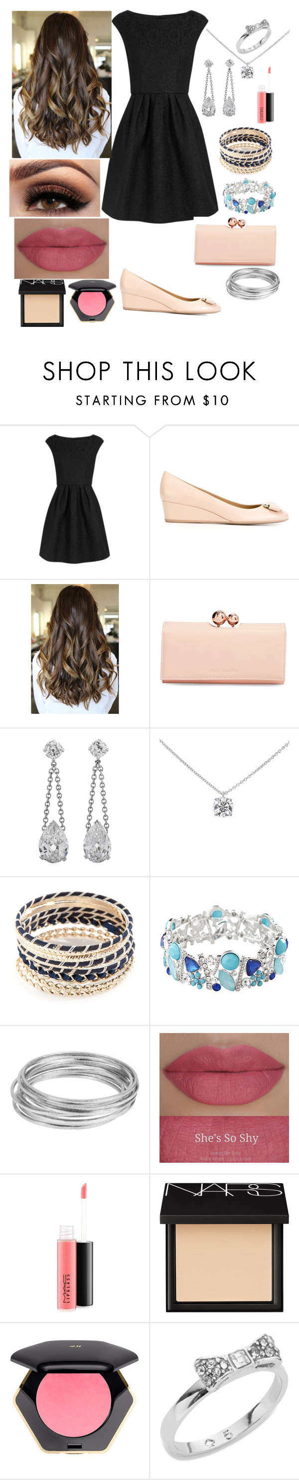 """""""A date night out"""" by georgia-lane ❤ liked on Polyvore featuring Boutique Moschino, Salvatore Ferragamo, Ted Baker, Tiffany & Co., New Directions, Avenue, Worthington, She's So, MAC Cosmetics and NARS Cosmetics"""