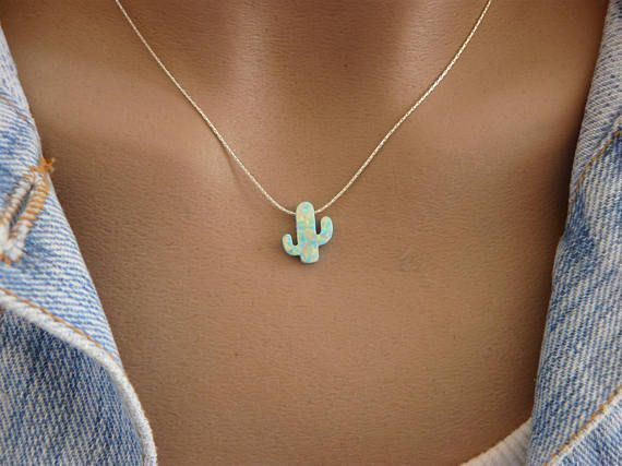 Photo of Unique gift!!! This adorable necklace made with Opal cactus charm and a delicate…