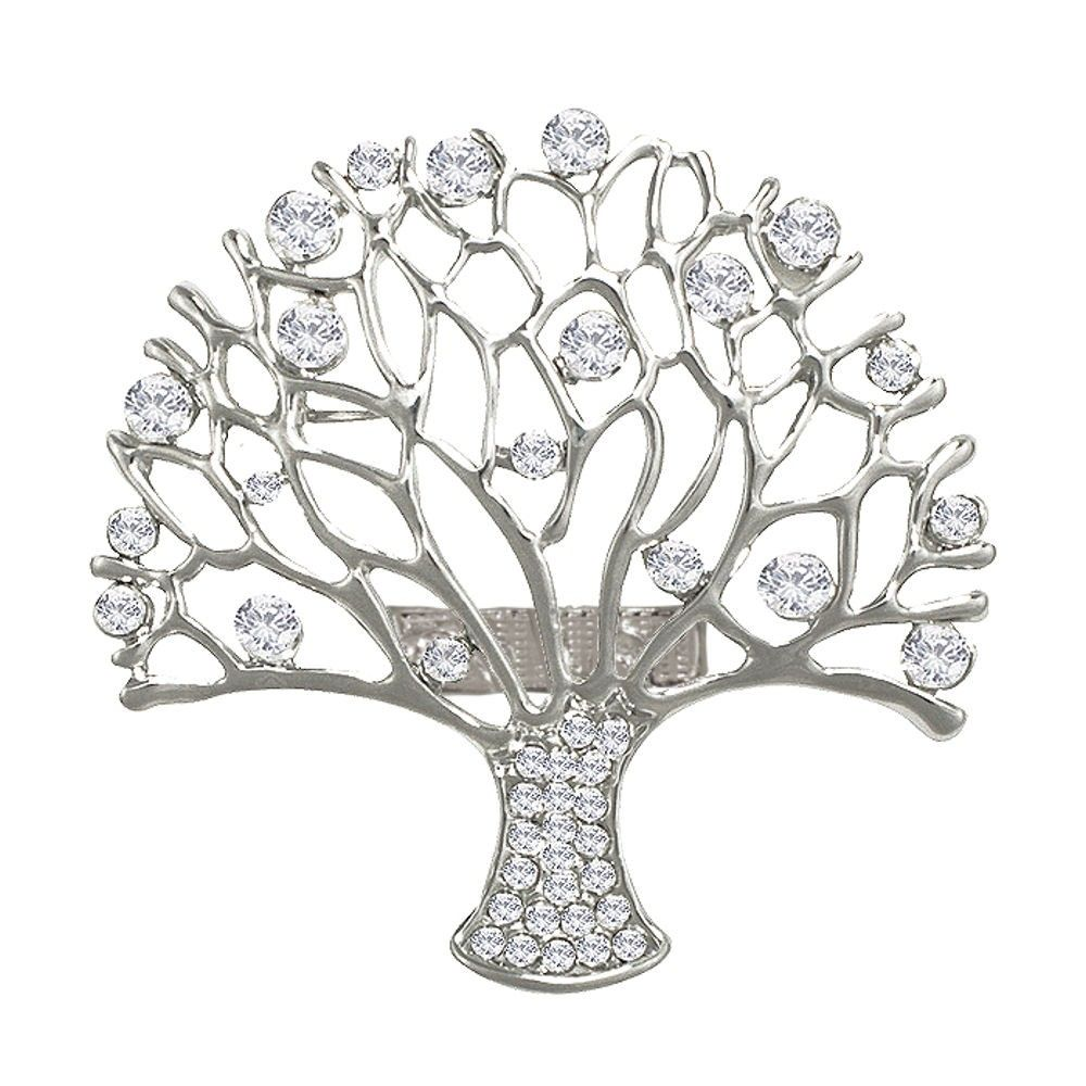 Essence Clear Crystal Silver Tone Tree Of Life Scarf Clip