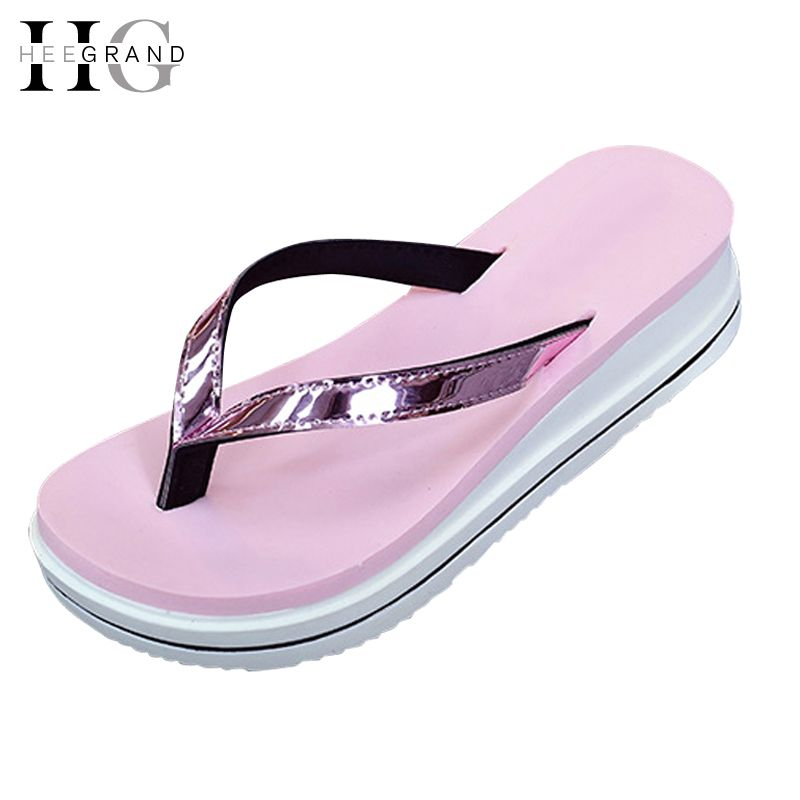 1d3bca1b976f9 HEE GRAND Summer Sandals Gold Silver Flip Flops Beach Casual Shoes Women  Slippers Creepers Slip On