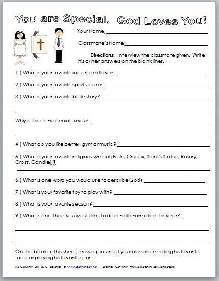 Catholic Worksheets For Kindergarten : Have the children interview each other icebreaker get