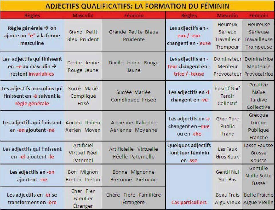 Resultado de imagen de formation feminin adjectifs fle