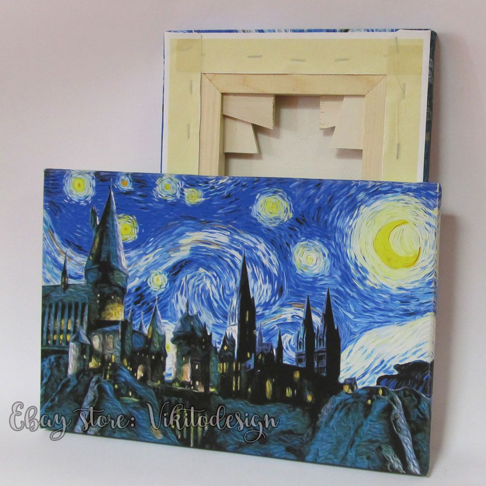 Harry Potter Canvas Stretched Hogwarts Starry Night Reproduction of Van Gogh