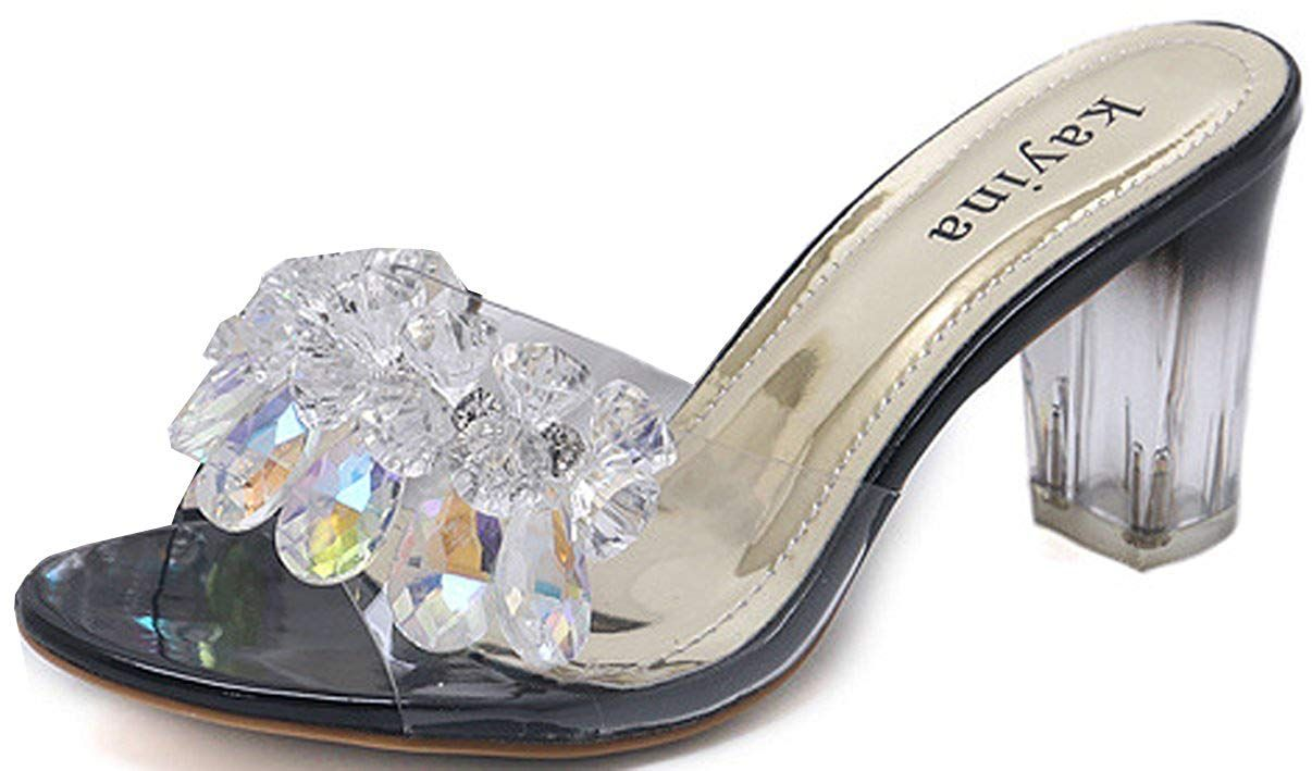 4dbb53a18 WAROFT Women s Sparkle Crystal Rhinestone Low Slip On Slide Open Toe Chunky Heel  Sandals Size 4-9     We appreciate you for viewing our picture.
