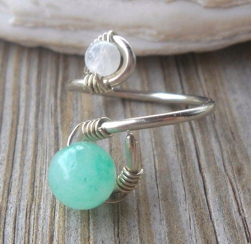 Jade,Rainbow Moonstone Wrapped Silver Wire Twisted Ring | pavlos - Jewelry on ArtFire