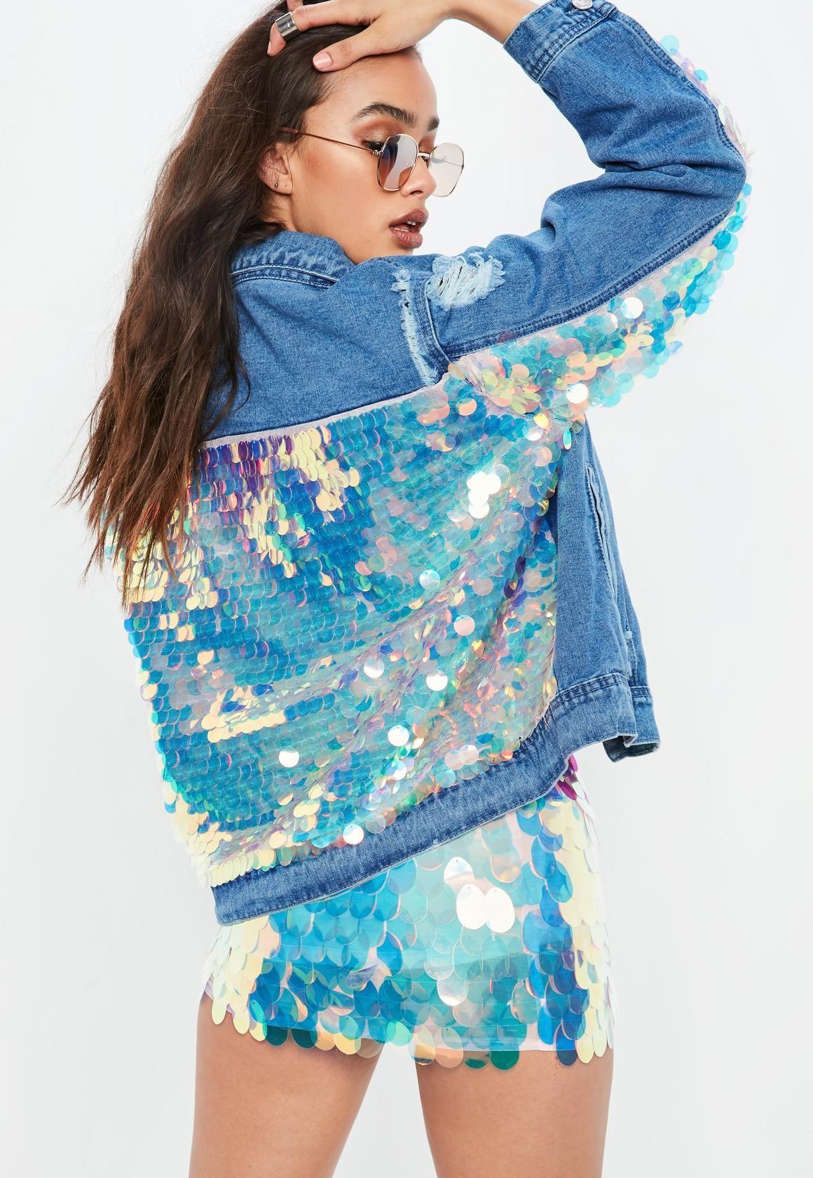 65c6f3edb176b Blue Denim All Over Back Mermaid Sequin Jacket