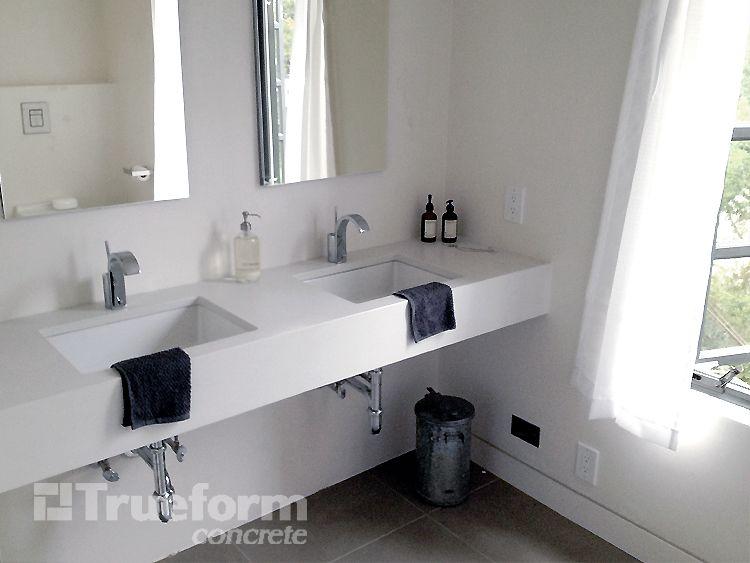 Floating concrete vanity top with undermount sink - Custom bathroom countertops with sink ...