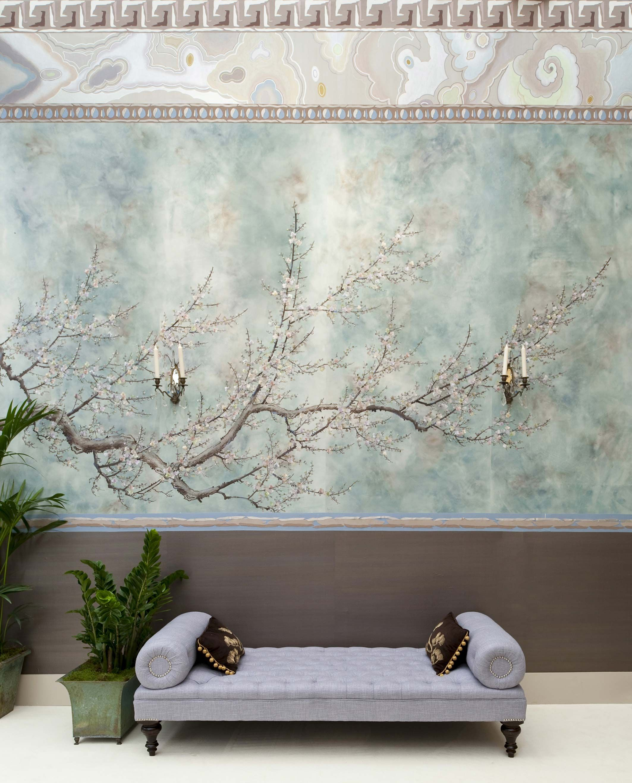 Supremely elegant and beautiful, prunus is painted in an