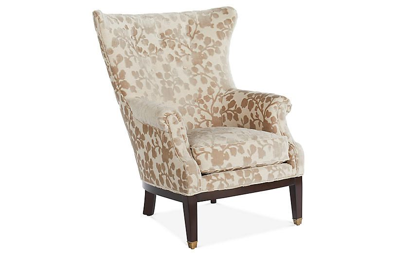 Callahan Wingback Chair Taupe Floral In 2019 Products