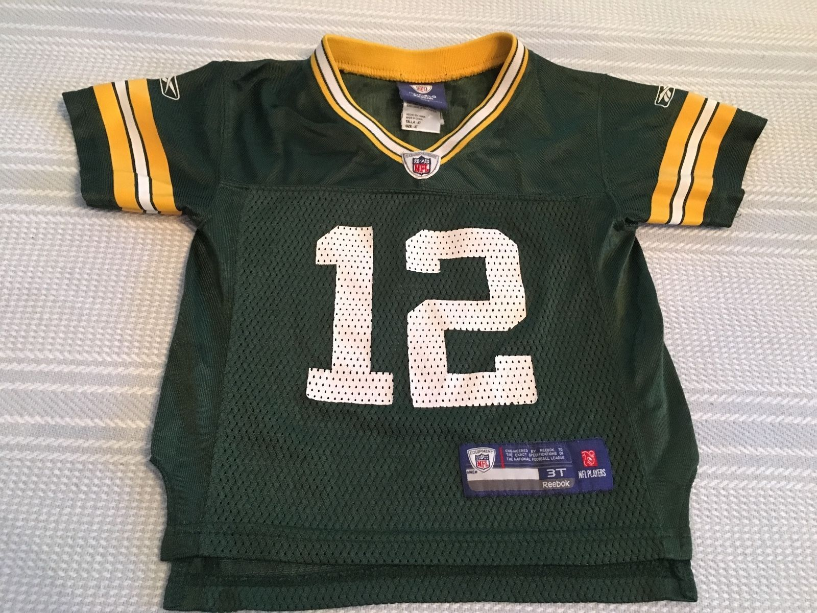 Green Bay Packersreebok Onfield Jerseyaaron Rodgers 12green With Yellow White Accentstoddler Size 3t15 Inches From Shoulder To Front With Images Green Bay Jersey Reebok