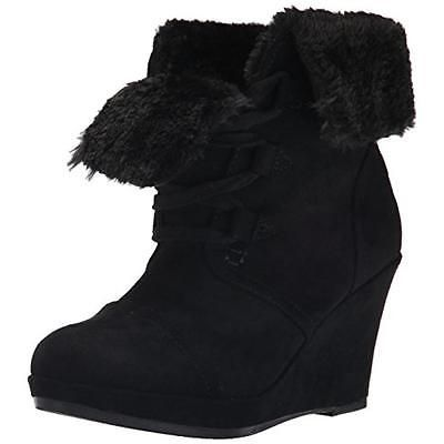 #Shoes #Apparel Report 5130 Womens Justise Black Faux Fur Wedge Boots Shoes  8 Medium