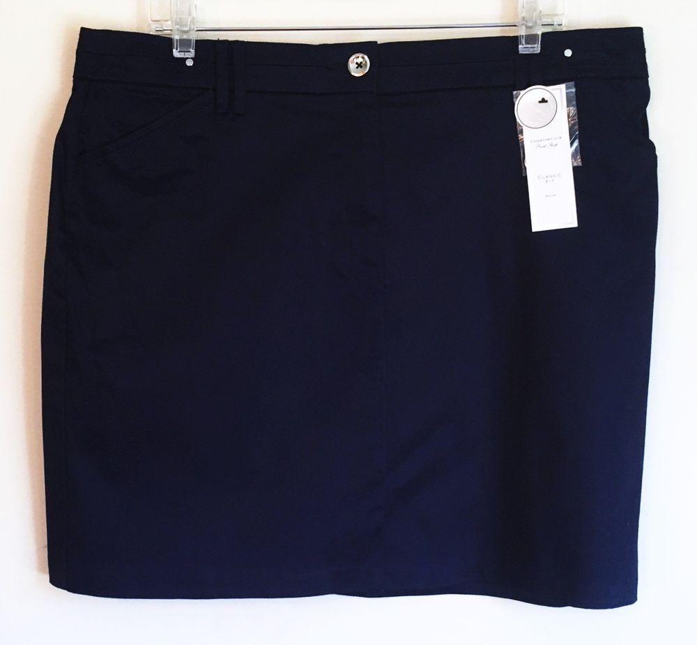 Charter Club NEW SKORT Skirt Over Shorts Navy Blue Comfort