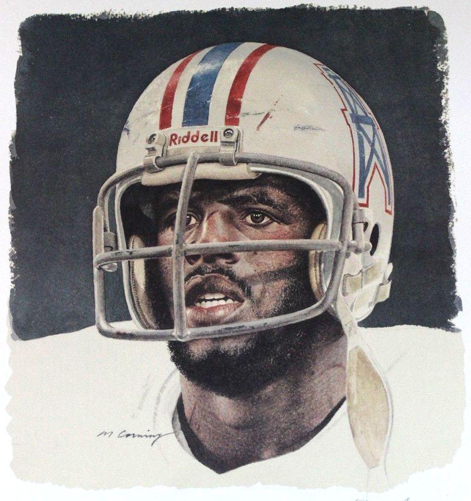 Earl Cambell, Houston Oilers by Merv Corning.