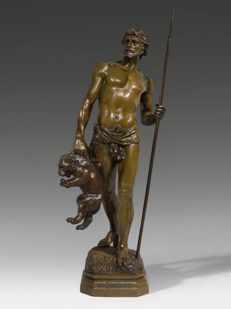 """Grosse Figur """"Nemrod"""" Frankreich, um 1900. Nach dem Modell von Didier Début (1824–1893). Bezeichn — Skulpturen, Plastiken, Installationen, Bronzen, Relief"""