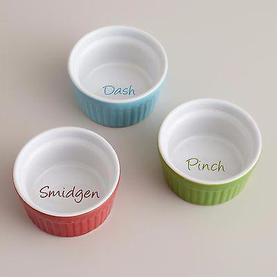 Set Of 3 Prep Ramekins Dash Pinch Smidgen Red Blue Green Stoneware Ramekins Kitchen Sale Kitchen Helper
