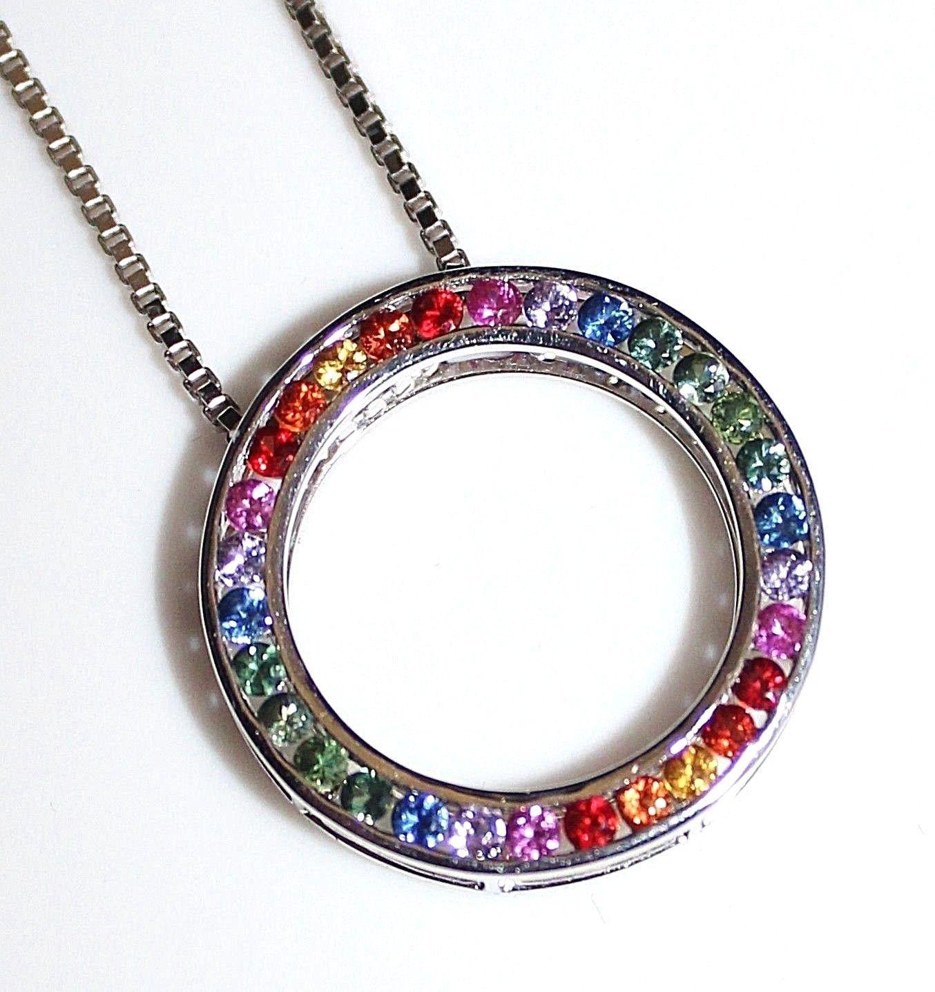 Brilliant 14k white gold rainbow sapphire circle pendant necklace brilliant 14k white gold rainbow sapphire circle pendant necklace 120ctw 64g mozeypictures Gallery