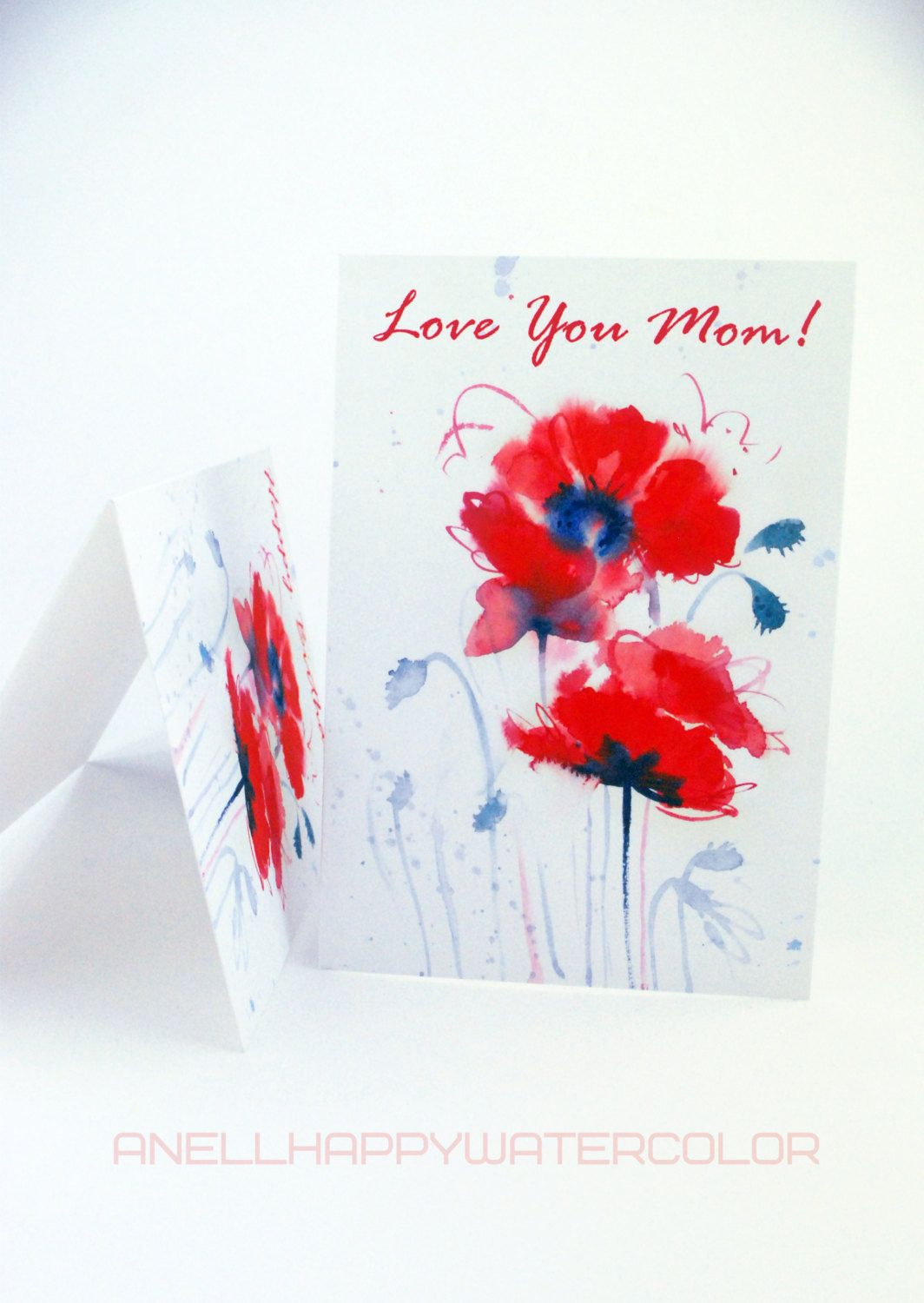 Love You Mom Card Personalized Card Mothers Day Card Red Flower
