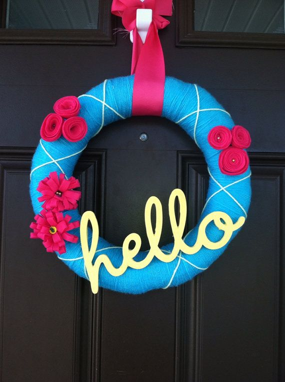 Summer yarn wreath by WondrousWreaths on Etsy, $30.00
