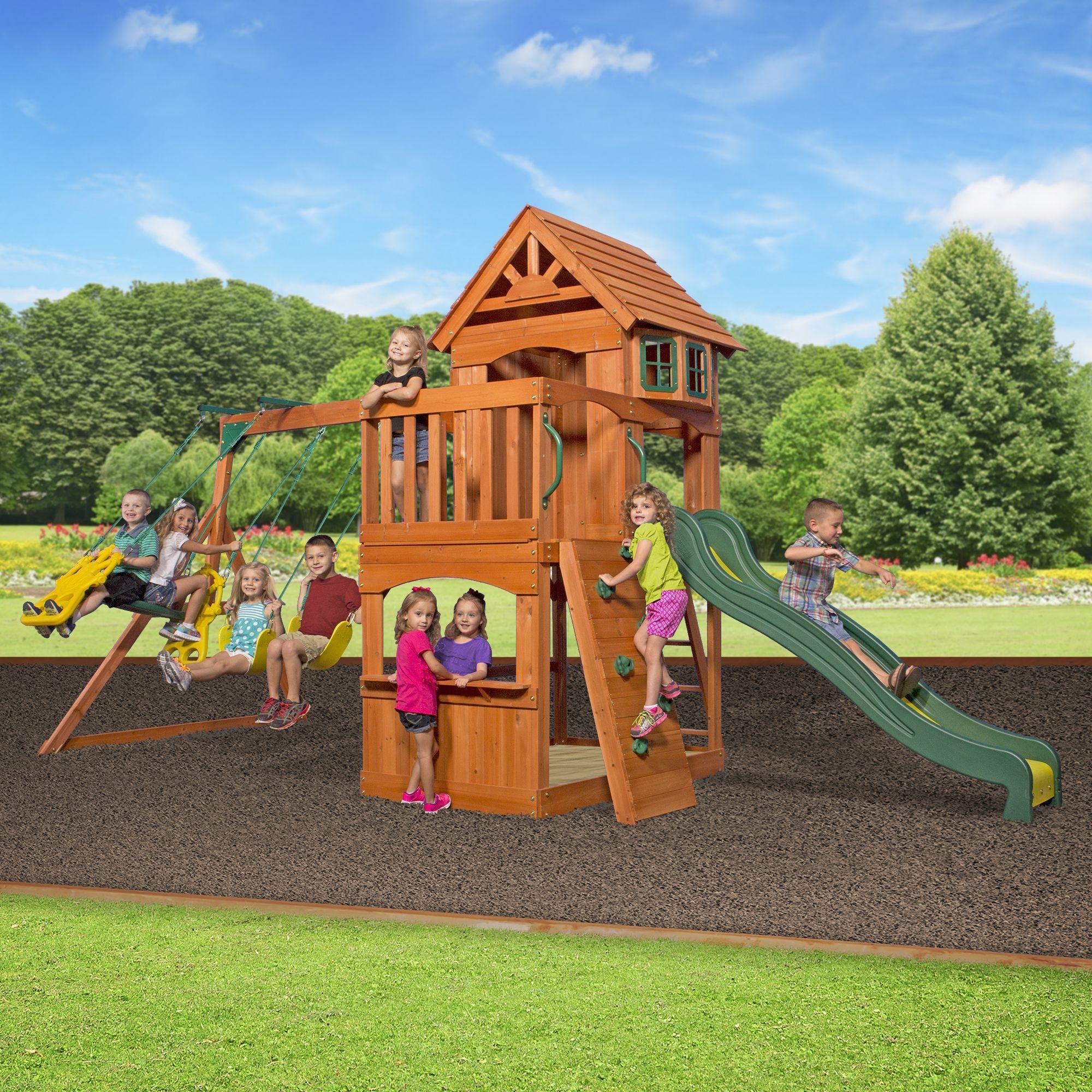 Backyard Discovery Atlantis All Cedar Swingset Overstock Com