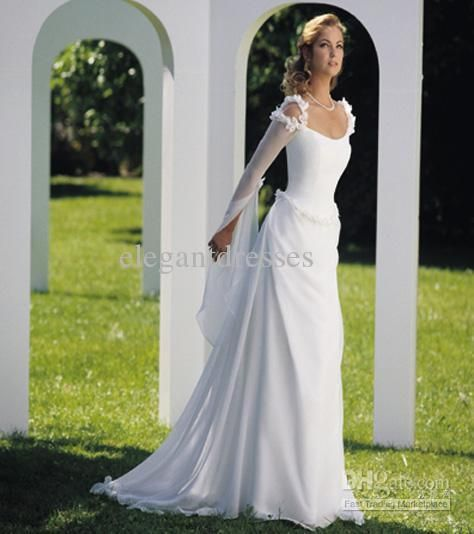 Wholesale Vintage Style Fresh And Clean Fairy Long Sleeve With Handmade Flowers Celtic Wedding Dress W74