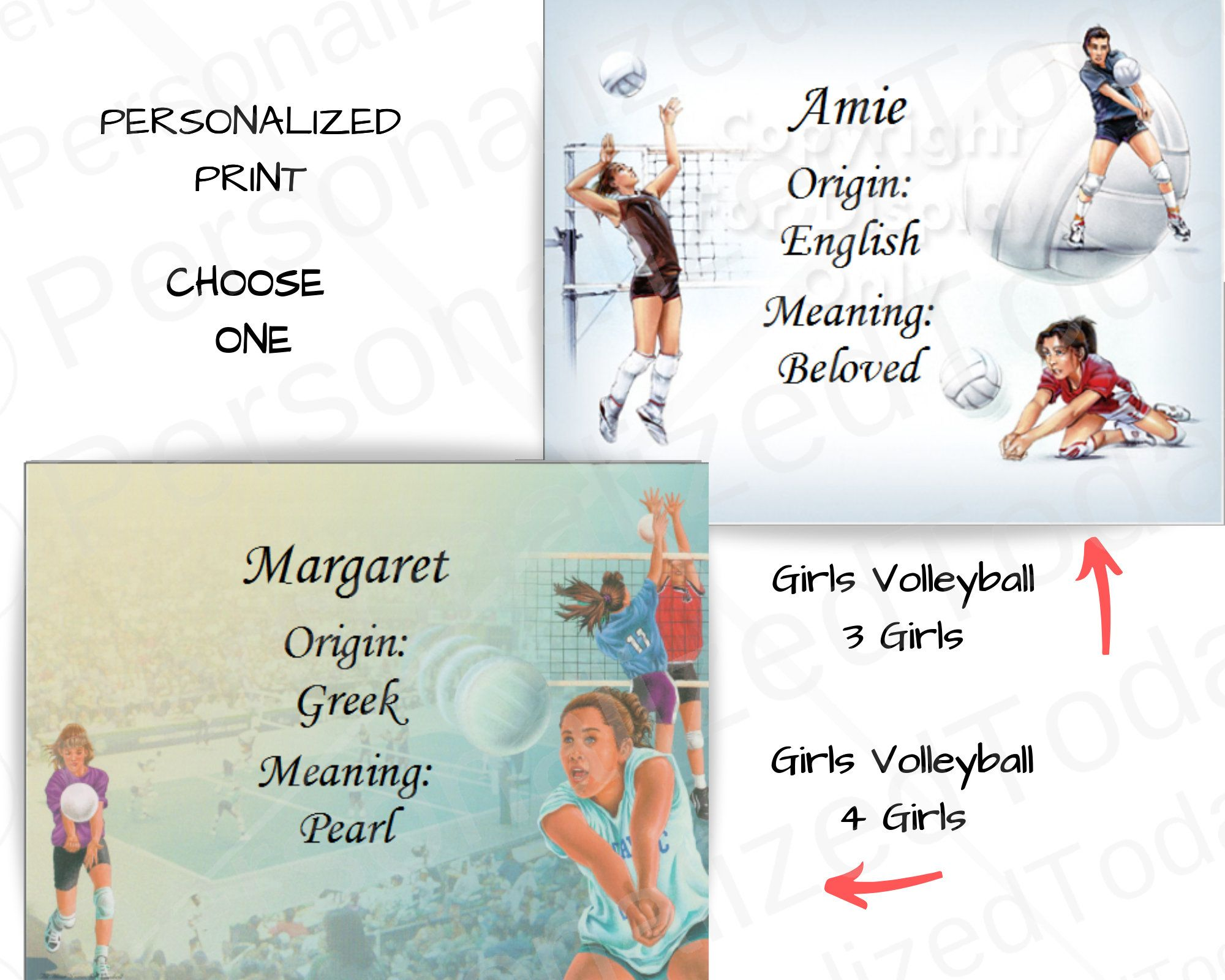 Excited To Share The Latest Addition To My Etsy Shop Girls Volleyball First Name Meaning Margaret Or Custom Pers Coaching Volleyball Team Gifts Sports Prints