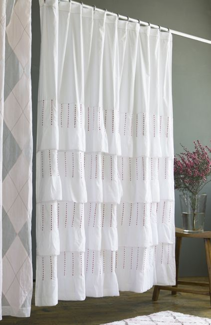 Pintuck Shower Curtain Layers Of White Voile Ruffles With Lovely