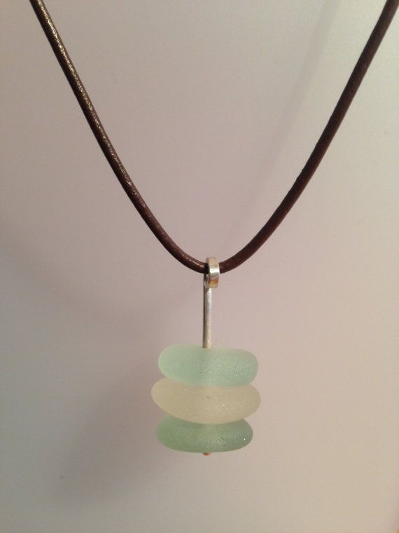 Pastel Sea Glass and Silver Pendant by GlavenGallery on Etsy