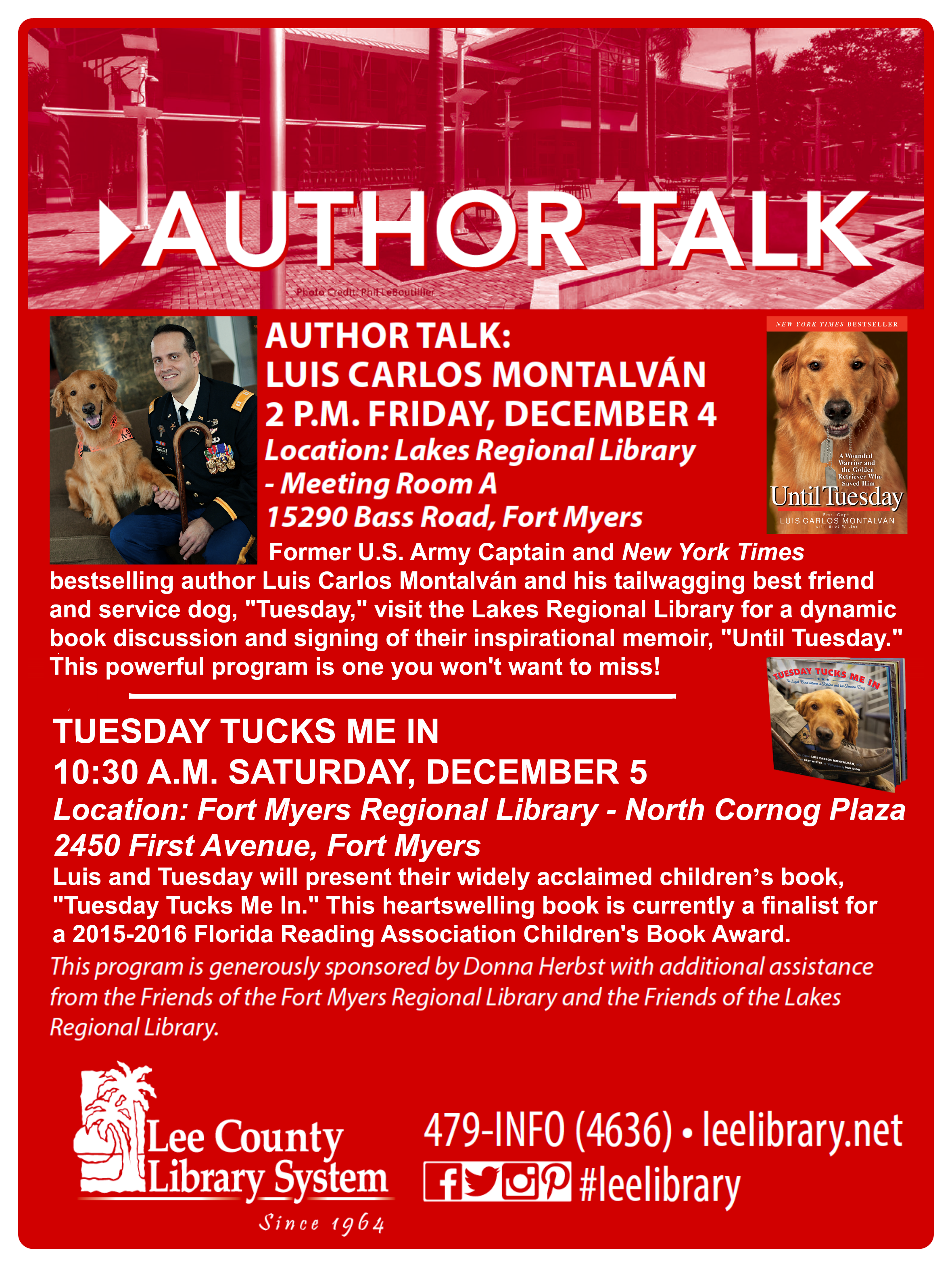 Tuesday And I Hope To See You And Yours For Some Tue Rrific Programs At These Branches Of The Lee County Fl Library Syste With Images Fort Myers Lee County Service Dogs