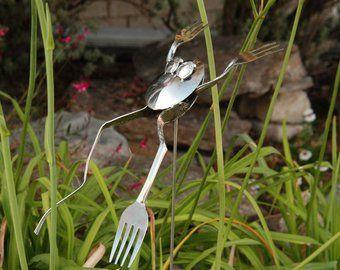 Dragonfly Stake Garden Decor Garden Art Silverware Art | Etsy