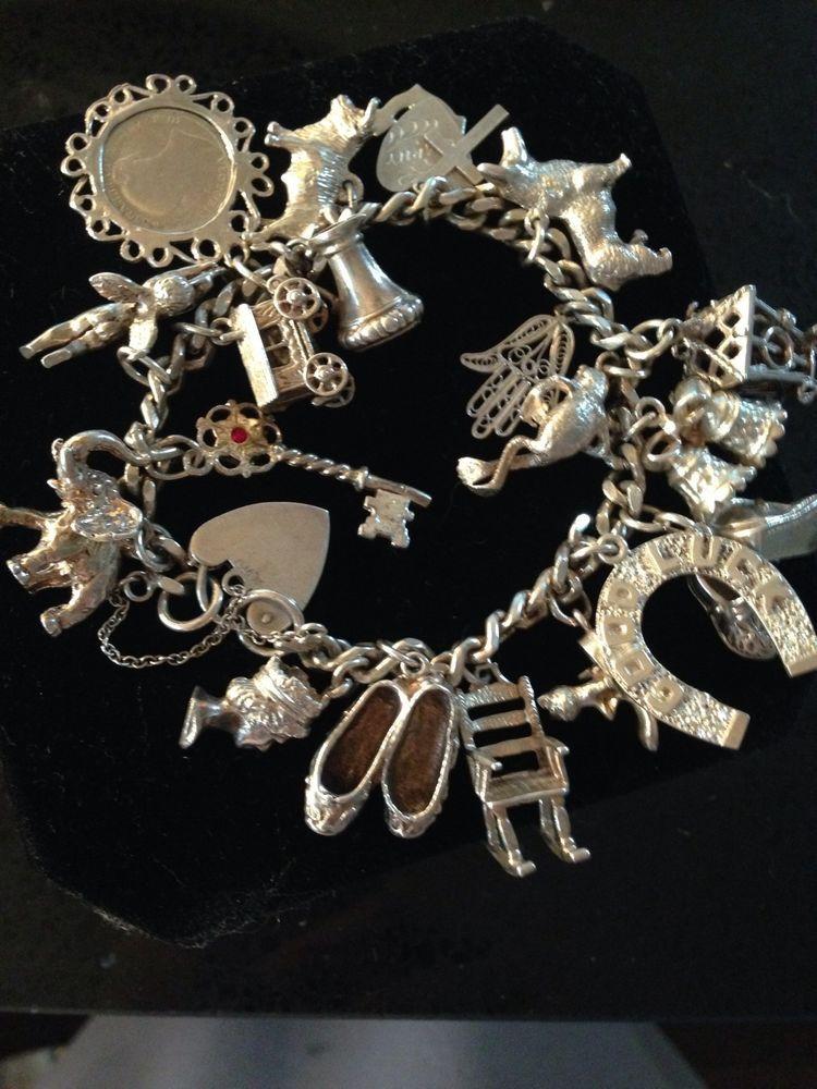73 76 Grm 19 Charms Vintage Sterling Silver 1950 70 S Curb Link Charm Bracelet