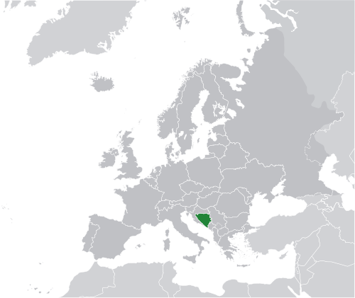 Location of Bosnia and Herzegovina greenin Europe dark grey
