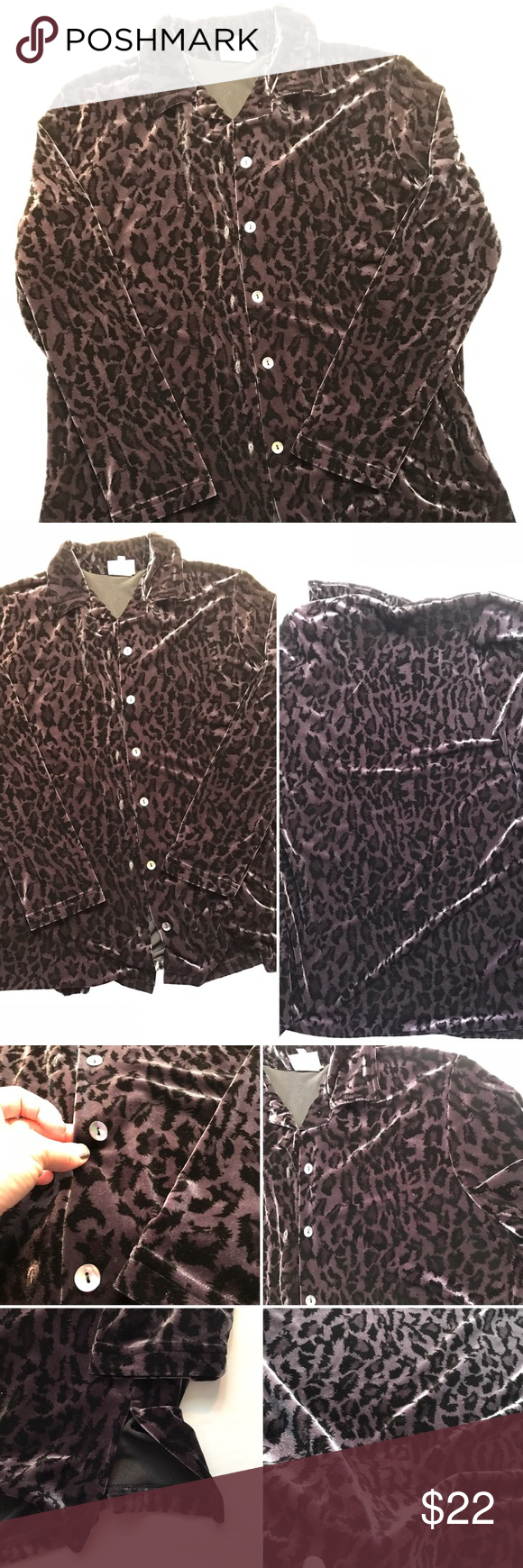 Hot Cotton blouse Hot cotton blouse velvet leopard print dark gray and black. Where it is more of a purpleish color is very cool. Please see photos for tags with size, materials and washing instructions.🚭 Hot Cotton Tops Blouses
