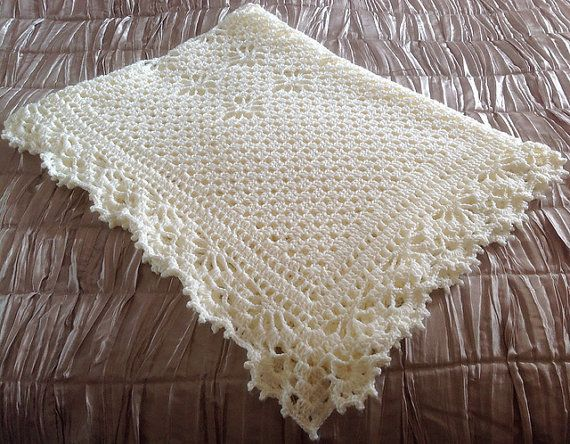 Christening Shawl Knitting Pattern Free : Crocheted Baby Shawl - Christening Shawl - Blanket by Precious Newborn Knits ...