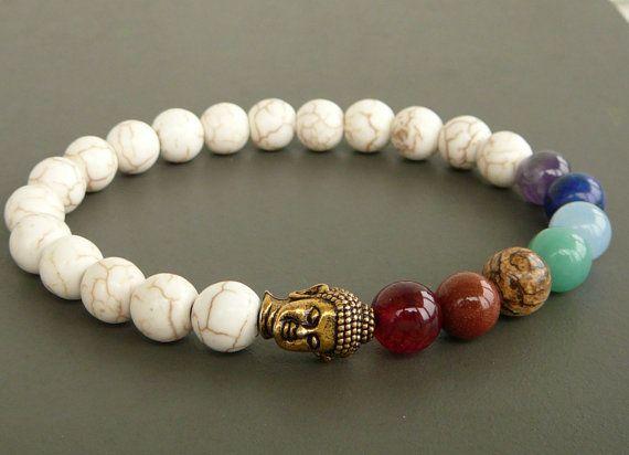 Mala bracelet bracelet 7 chakra Bracelet Howlite par MariZJewelry
