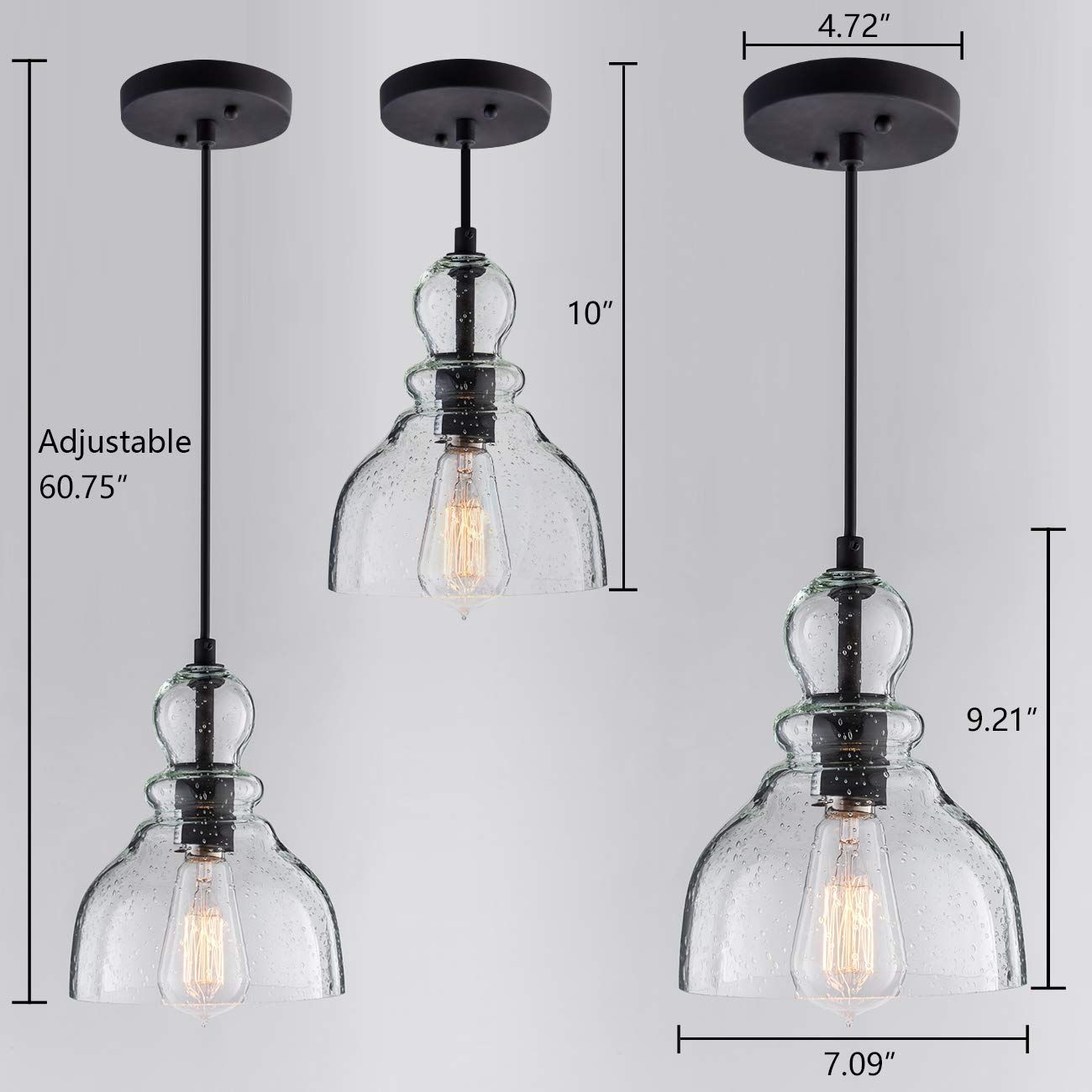 Lanros Industrial Mini Pendant Lighting With Handblown Clear Seeded Glass Shade Adjustable Edison Pendant Light Ceiling Pendant Lights Pendant Light Fixtures