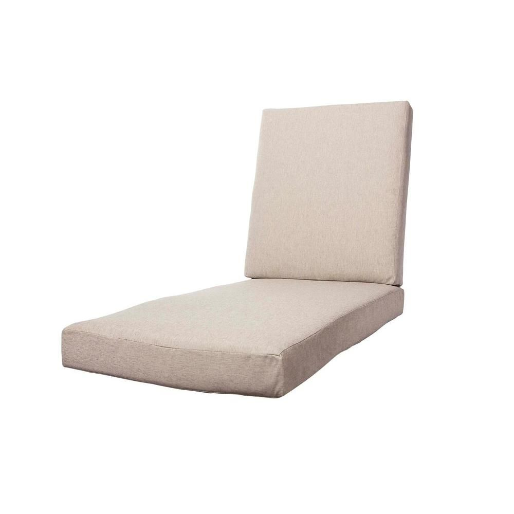 Hampton Bay Marshall Replacement Outdoor Chaise Lounge Cushion ...