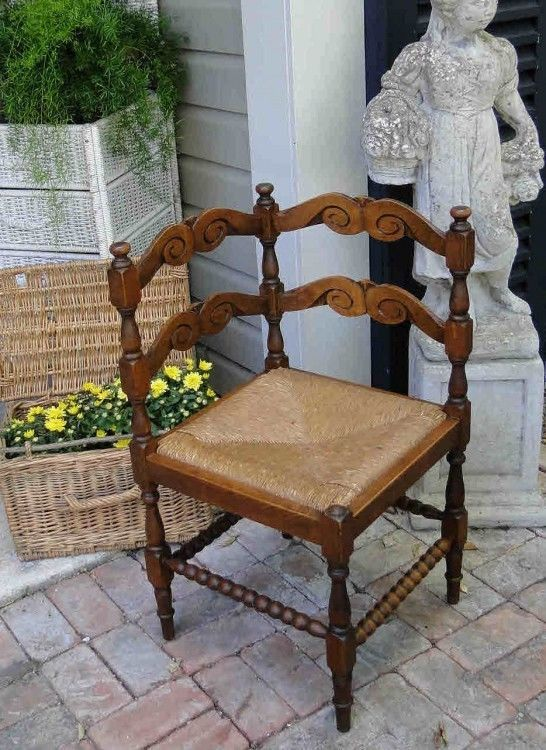 Antique French Corner Chair Carved - Bobbin with Rush Seat Turned Wood Dark Oak #FrenchCountryProvincial #Craftsmenofthatera