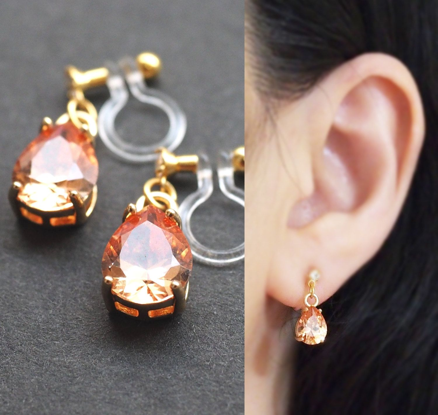 dangle cubic zirconia invisible clip on earrings orange