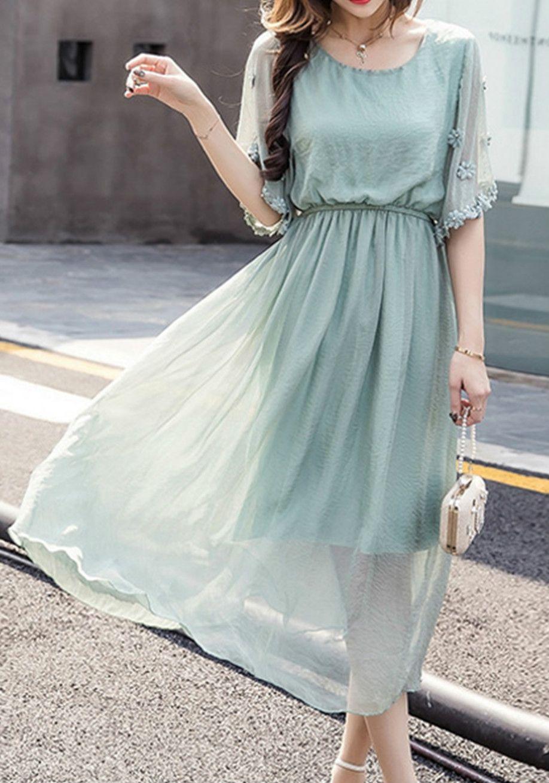 Short Sleeve Elastic Waist Chiffon Evening Dress - OASAP.com ...