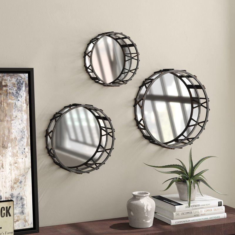3 Piece Roman Time Mirror Wall Decor Set Modern Art Decor Shabby Chic Wall Art Medallion Wall Decor