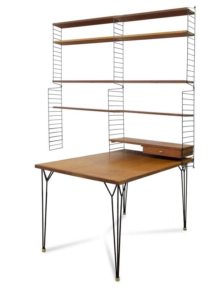 Nils Strinning; 'Pira Olle' Desk and Shelves for String, 1962.