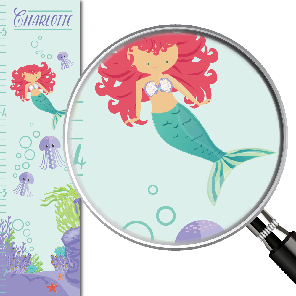 Mermaid Under the Sea Personalized Growth Chart mermaid height chart ...