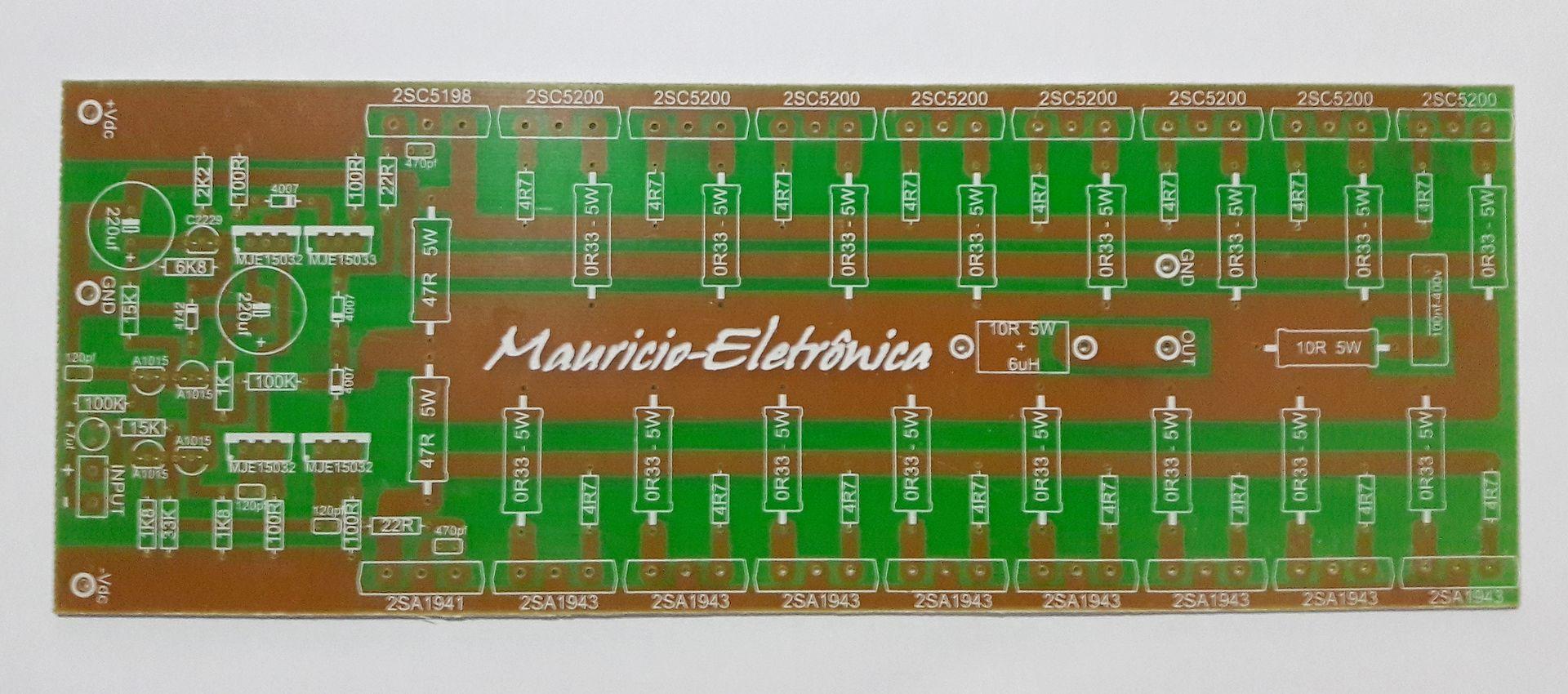Placa Lisa Para Montar Amplificador Profissional 1600w 2 Ohms Current Limiting Audio Amplifier Circuit Amplifiercircuitsaudio Mauricio Eletronica Amplificadores De Audio200w300w400w500w700w1000w