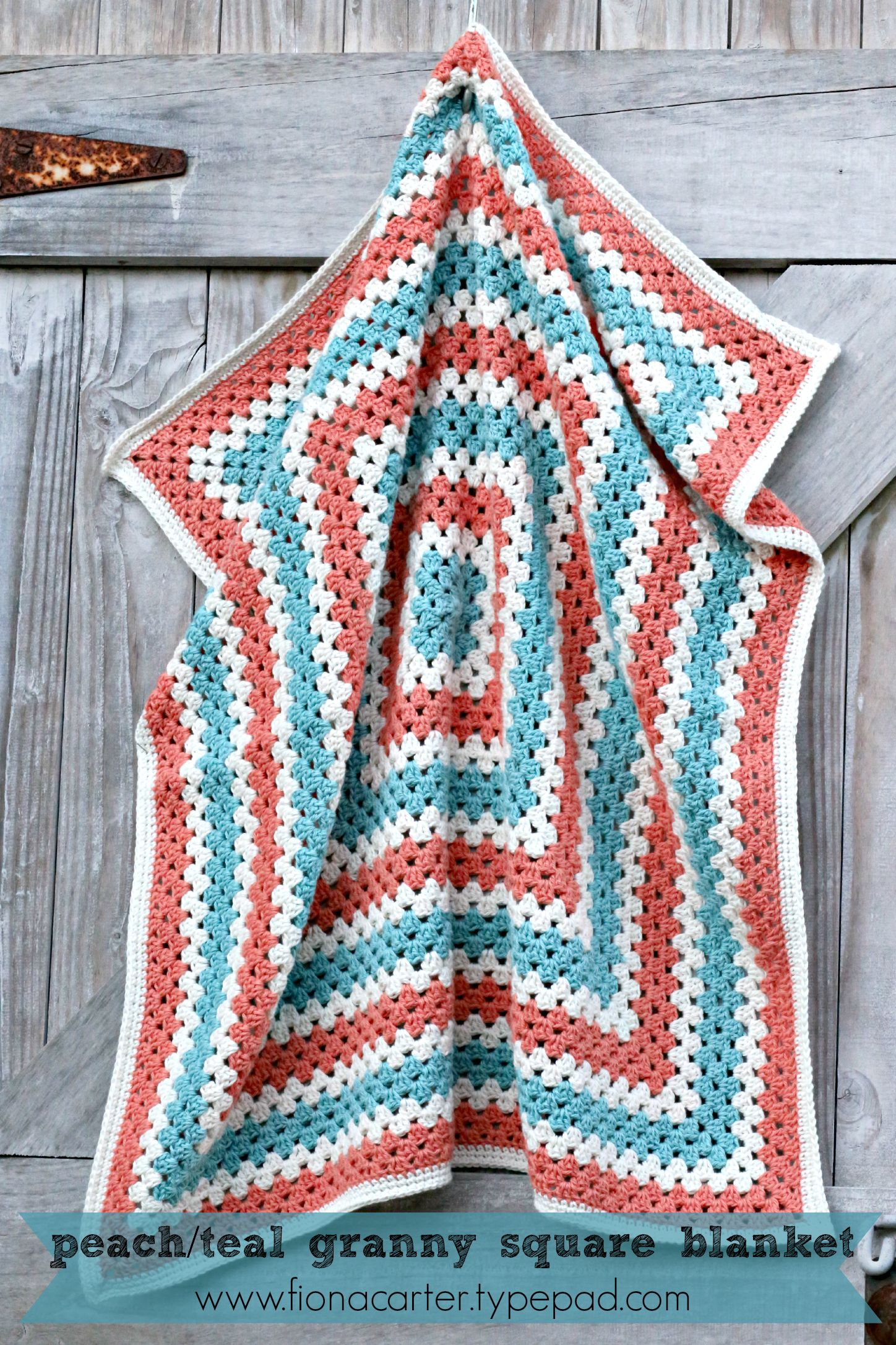 Fiona Carters Peach And Teal Granny Square Blanket
