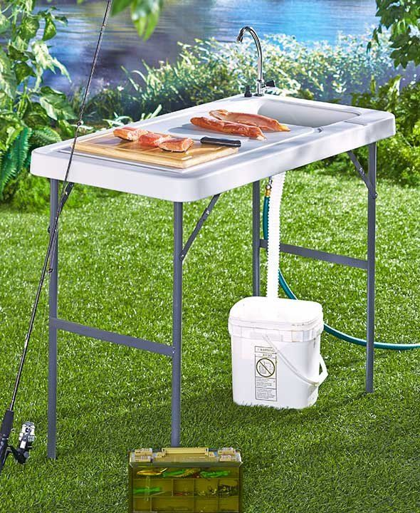 Folding portable sink table fish hunting cleaning cutting for Fish cleaning table with sink