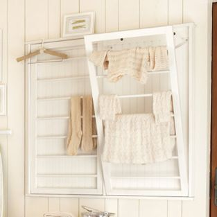 Beadboard Drying Rack - This beadboard drying rack tucks up and out of the way when you're not using it to hang hand-washables to dry. It co...