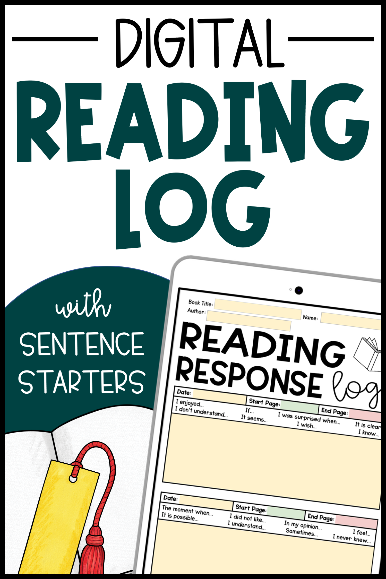 Reading Log with Summary Digital Editable Distance